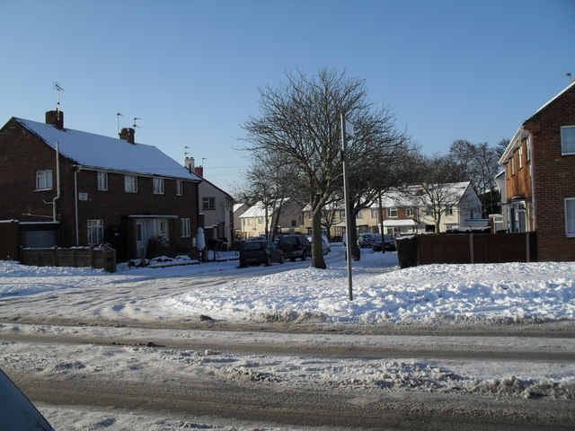 Looking from Dunsbury Way across to a snowy Ellisfield Road