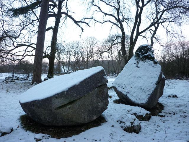 Split boulder above Leighton Hall