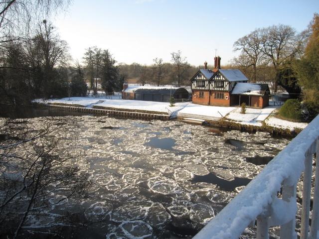 Pancake ice by the Iron Bridge Lodge