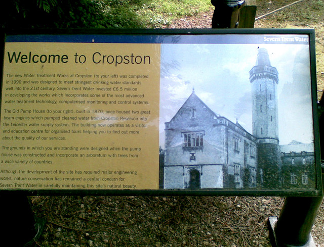 Information board at Cropston Water Treatment Works