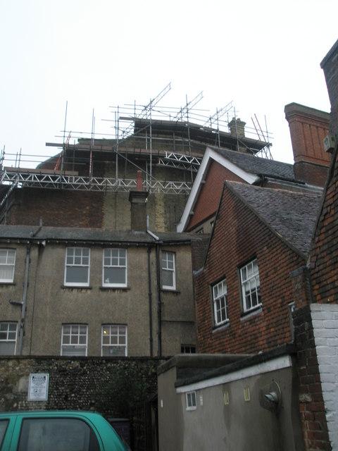 Looking from Tarrant Street towards scaffolding on a building in Maltravers Street
