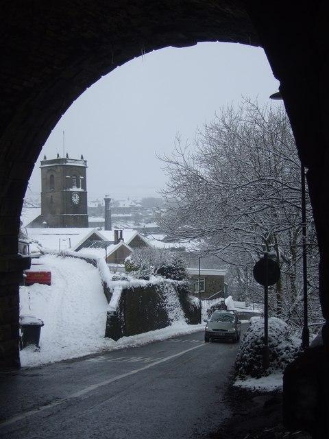 St James' Church through the viaduct