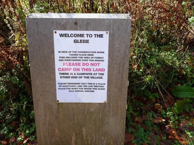 No camping notice at Luss Glebe