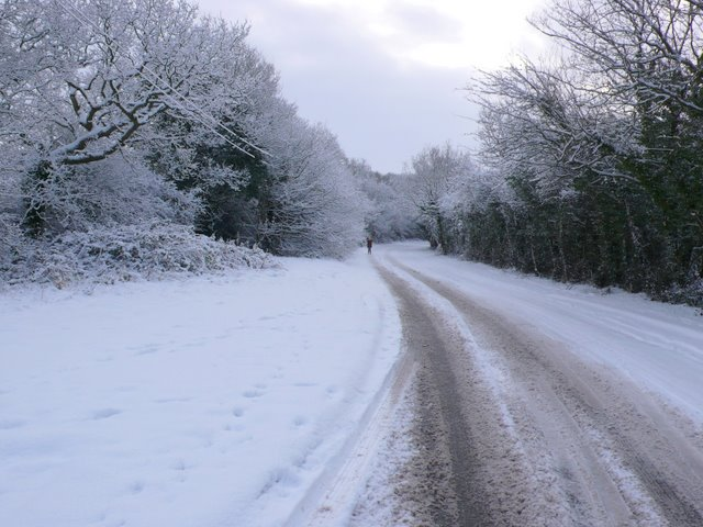 Snowy lane at Gorcott Hill