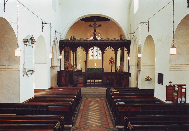 Interior of All Saints, Wing, Bucks.