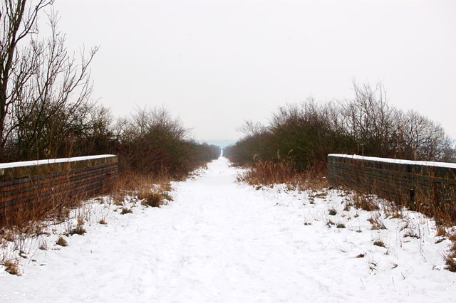 Dismantled railway trackbed in the snow (1)