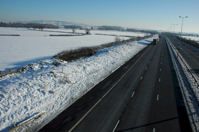 The M5 south of Kinnesley