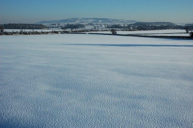 Snow covered farmland, Kinnersley