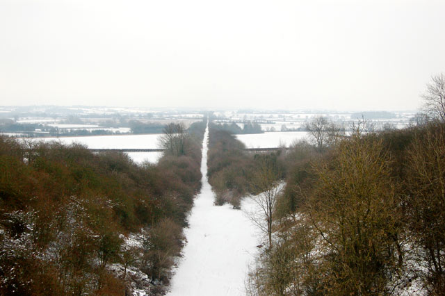 Dismantled railway trackbed in the snow (6)