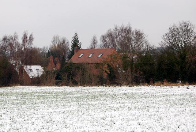 View to Eathorpe across snow-covered farmland