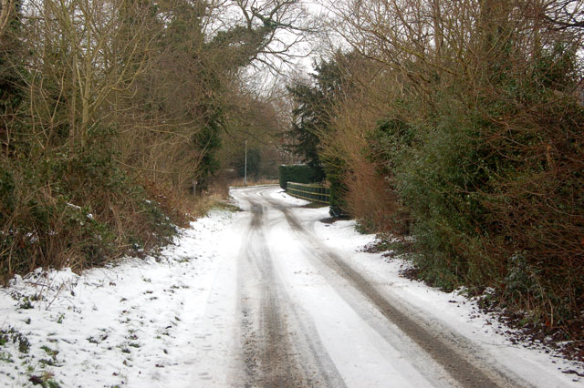 The old Fosse Way at Eathorpe on a snowy day