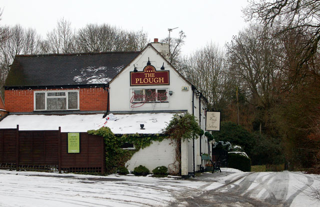 The Plough pub at Eathorpe in the snow
