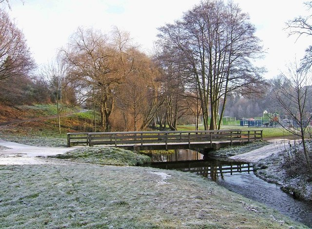Footbridge and ford in winter in Springfield Park