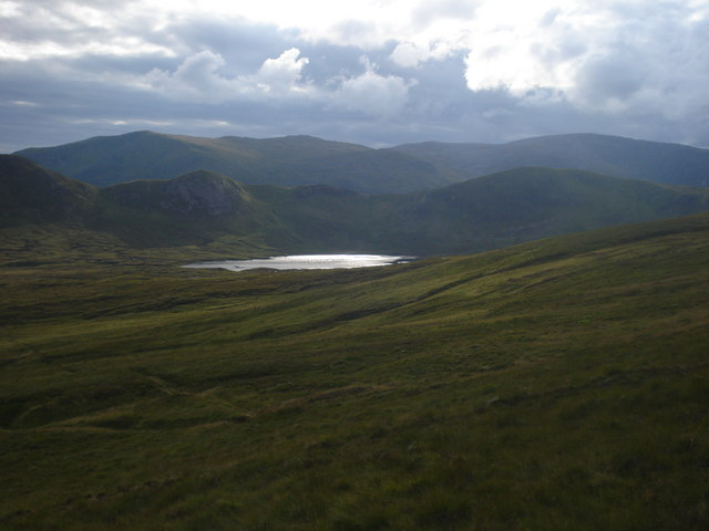 Loch Sail an Ruathair from path south east of  Meall an Aonaich