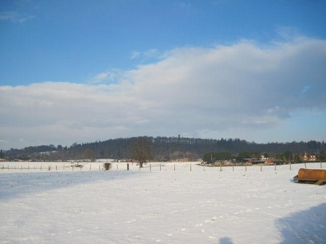 Snowy fields opposite Derwen garden centre