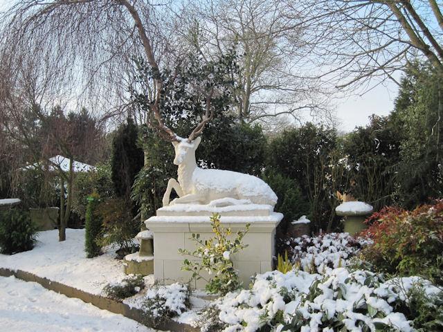 Snowy Stag at entrance to Derwen Garden centre