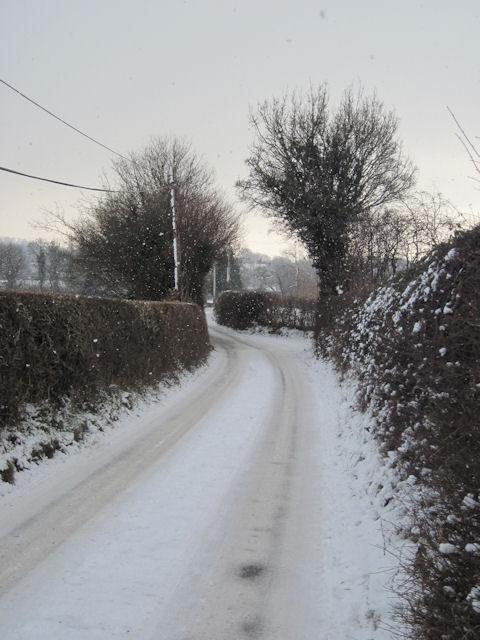 Lower Trelydan Lane in the snow