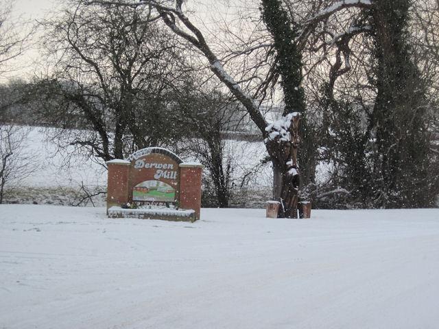 Entrance to Derwen Mill Caravan site