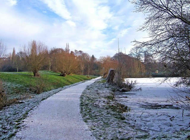 Path by frozen pond in Springfield Park