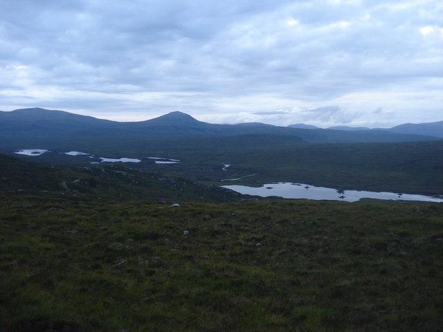 Looking towards Loch na Sroine Luime and Fionn Loch beag and mor from near Alltan Aonghais