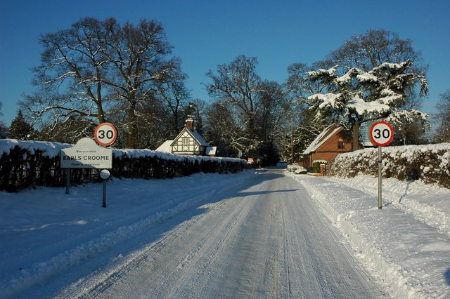 Snow covered road, Earl's Croome