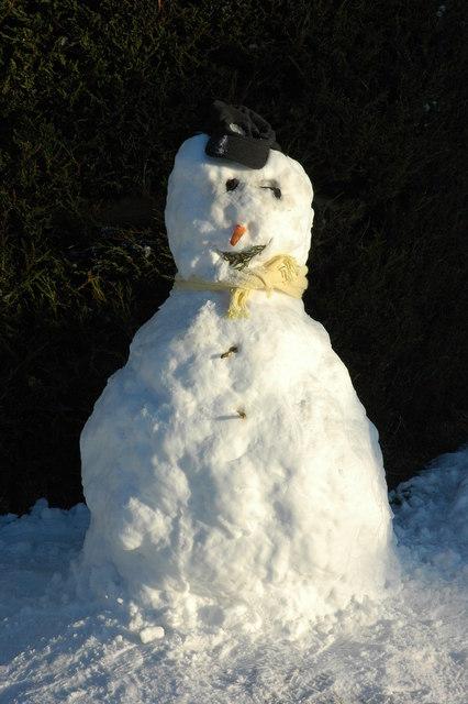 Snow man in Earl's Croome