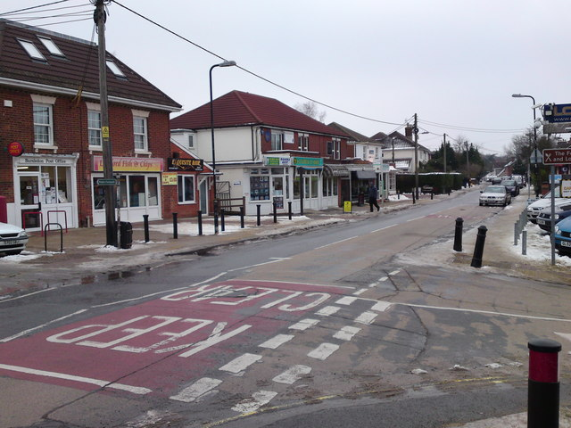 Lowford Village Centre at the junction with School Lane