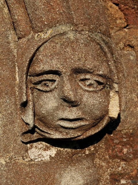 Carved head, Clyst St George (2)
