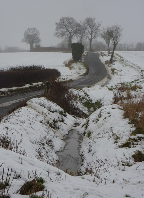 Snowy ditch by the lane to Elmsett