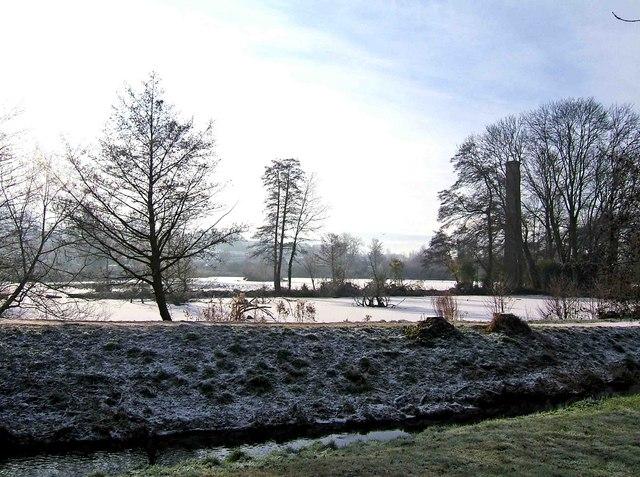 Frozen pond in Springfield Park