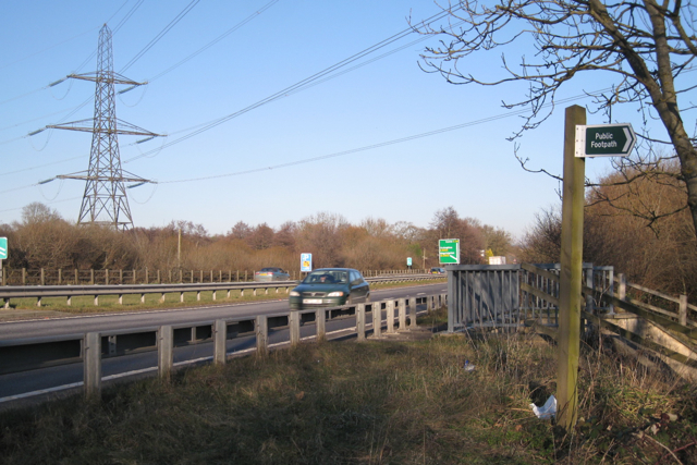 Beginning and end of public footpath by the A38 (T)