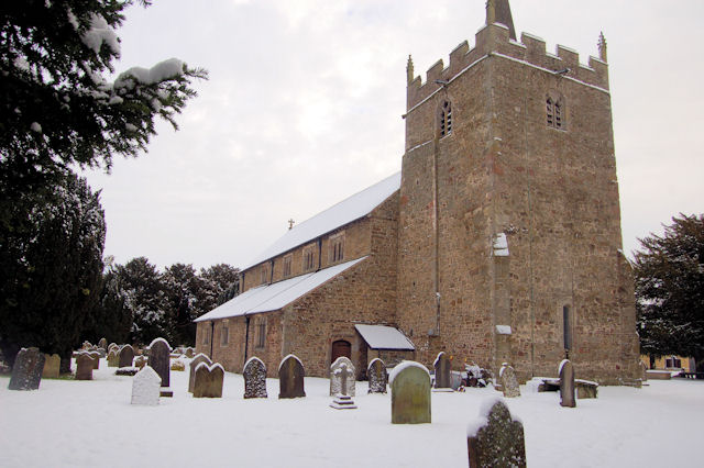 St Aelhaiarn's Church in the snow