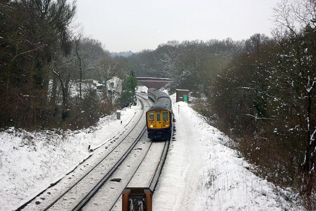 Down train approaching Balcombe