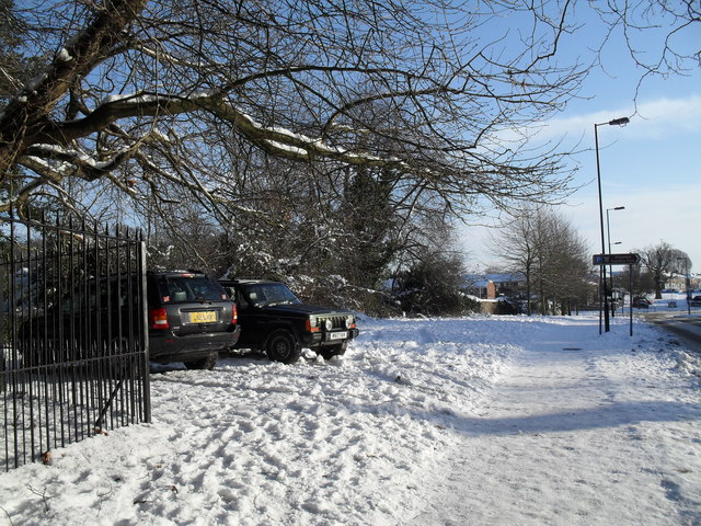 A snowy pavement in Middle Park Way