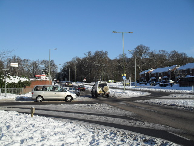 Junction of Middle Park Way and a snowy Petersfield Road