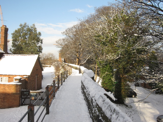 The city walls towards the Phoenix Tower in the snow