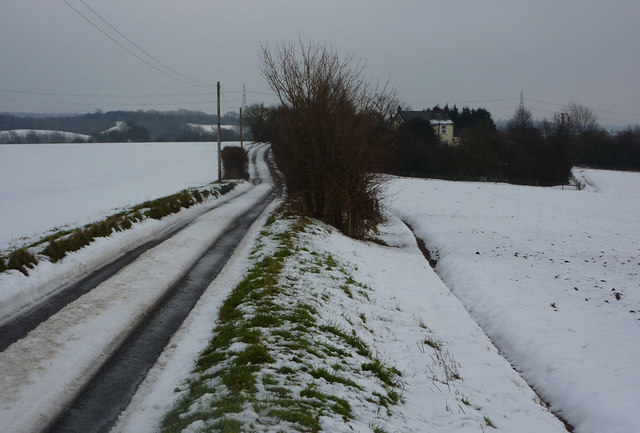 Flowton Road under snow