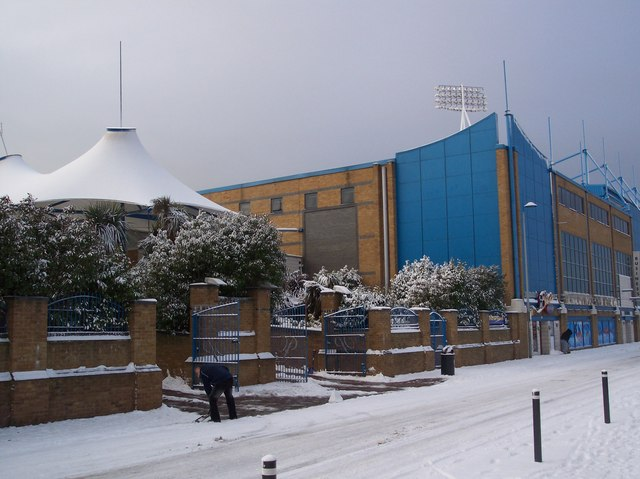 Clearing the snow at Priestfield Road Stadium