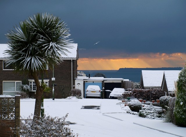 Snow on St Vincent's Close, Torquay