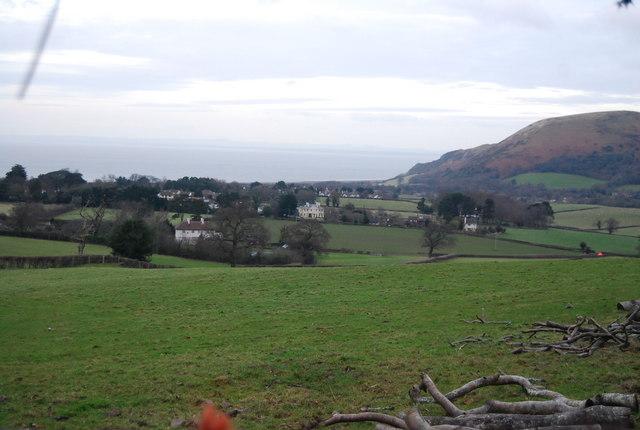 View towards Porlock Bay from Luccombe Lane