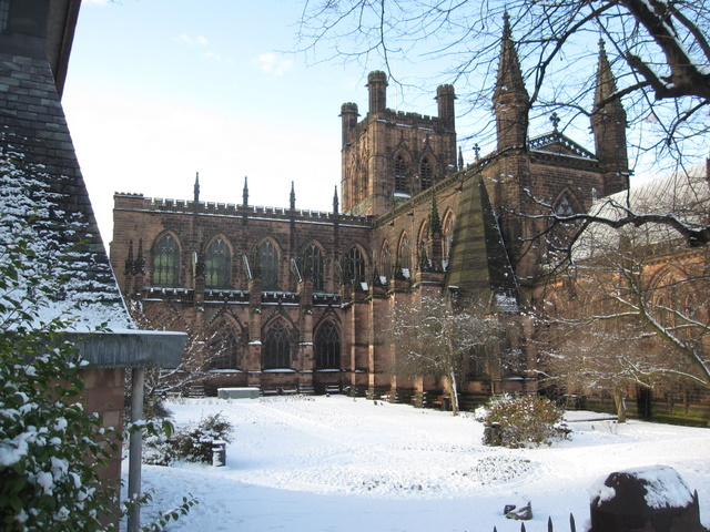 Chester cathedral in the snow
