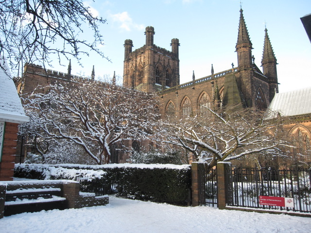 Chester cathedral in the snow 2