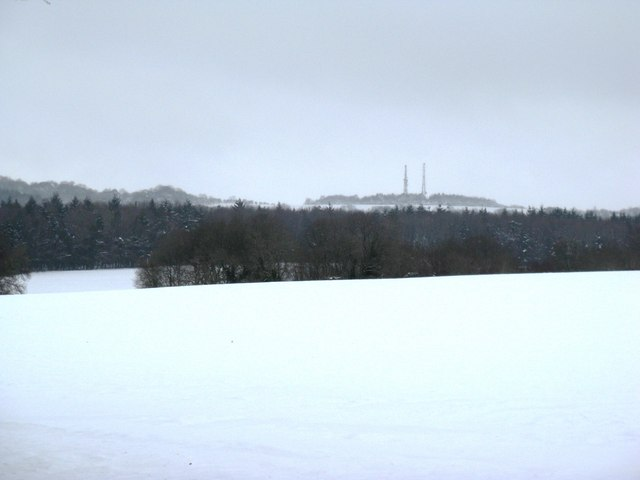 Snow covered fields near North Wood