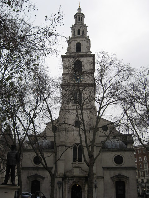 The spire of St Clement Danes Church just off The Aldwych, in central London