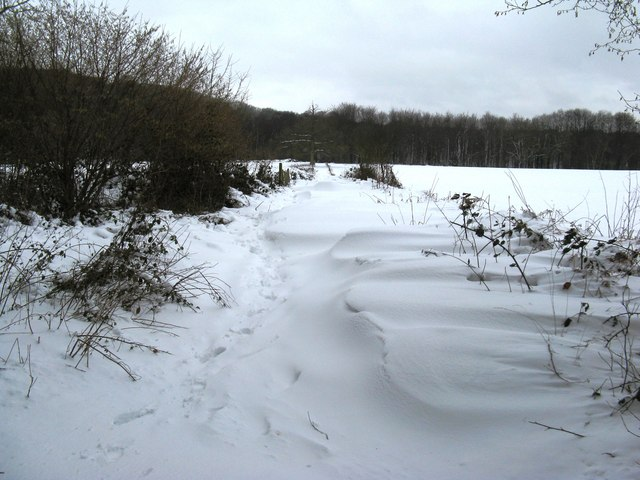 Deep drifted snow on bridleway