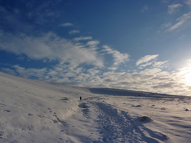 Snow-covered path to Allermuir