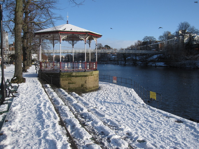 The bandstand in The Groves in the snow