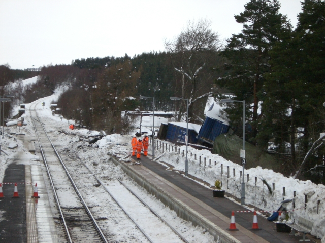 Repair work following the derailment at Carrbridge Station