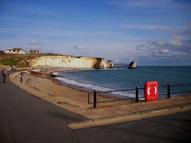 Freshwater Bay Looking East Towards Chalk Cliffs