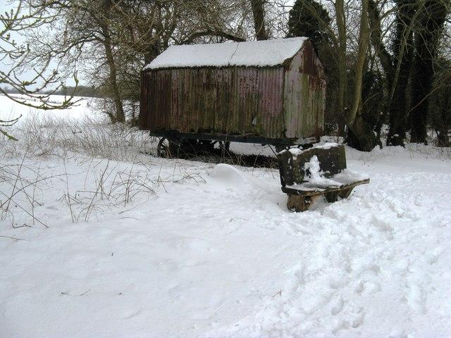 Derelict mobile farm building